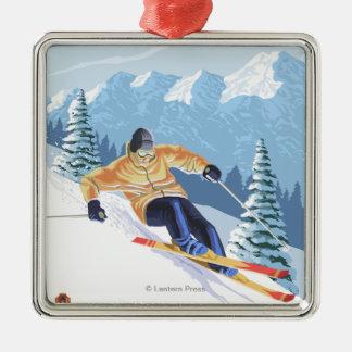 Downhhill Snow Skier - Mission Ridge, Washington Christmas Ornament