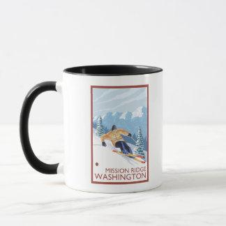 Downhhill Snow Skier - Mission Ridge, Washington Mug
