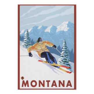 Downhhill Snow Skier - Montana Poster