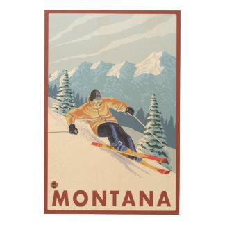 Downhhill Snow Skier - Montana Wood Wall Decor