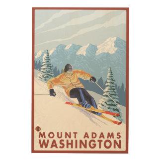 Downhhill Snow Skier - Mount Adams, Washington Wood Wall Decor