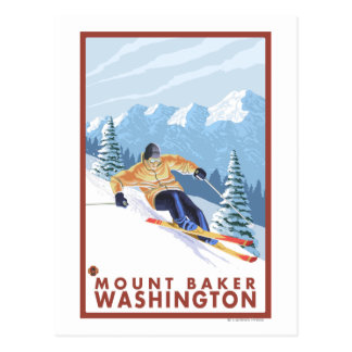 Downhhill Snow Skier - Mount Baker, Washington Postcard