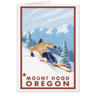 Downhhill Snow Skier - Mount Hood, Oregon Cards