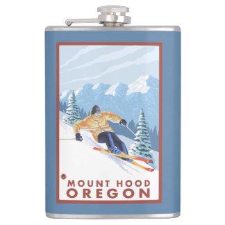 Downhhill Snow Skier - Mount Hood, Oregon Flasks