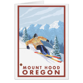 Downhhill Snow Skier - Mount Hood, Oregon Note Card