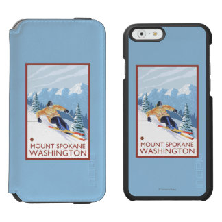 Downhhill Snow Skier - Mount Spokane, Incipio Watson™ iPhone 6 Wallet Case