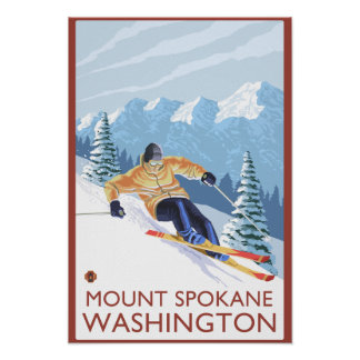 Downhhill Snow Skier - Mount Spokane, Poster