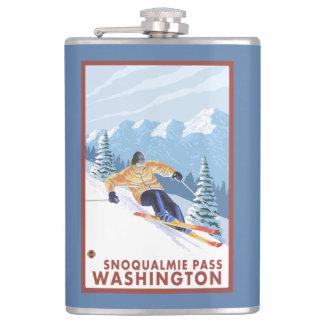 Downhhill Snow Skier - Snoqualmie Pass, WA Hip Flask
