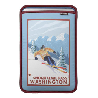 Downhhill Snow Skier - Snoqualmie Pass, WA Sleeve For MacBook Air