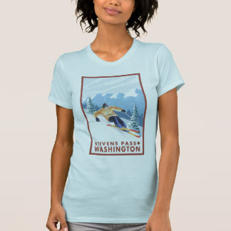 Downhhill Snow Skier - Stevens Pass, Washington T-shirts