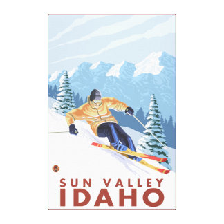 Downhhill Snow Skier - Sun Valley, Idaho Canvas Print