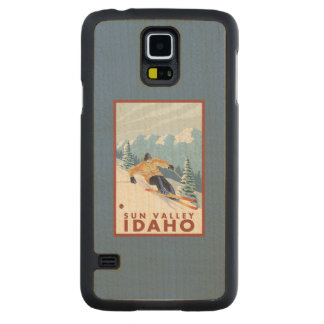Downhhill Snow Skier - Sun Valley, Idaho Carved Maple Galaxy S5 Case