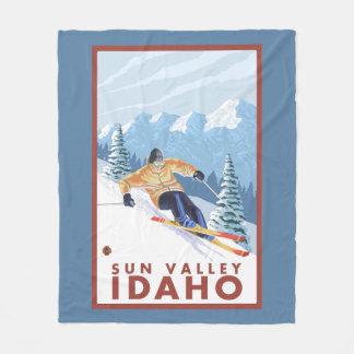 Downhhill Snow Skier - Sun Valley, Idaho Fleece Blanket