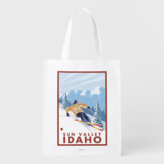 Downhhill Snow Skier - Sun Valley, Idaho Reusable Grocery Bag