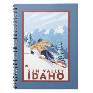 Downhhill Snow Skier - Sun Valley, Idaho Spiral Notebook