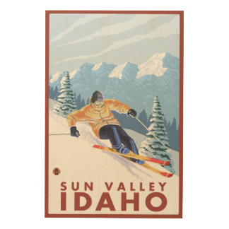 Downhhill Snow Skier - Sun Valley, Idaho Wood Wall Art