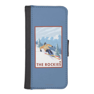 Downhhill Snow Skier - The Rockies iPhone SE/5/5s Wallet Case