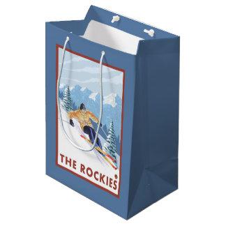 Downhhill Snow Skier - The Rockies Medium Gift Bag