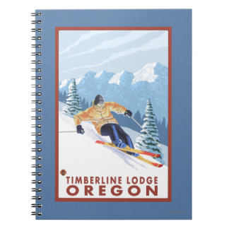 Downhhill Snow Skier - Timberline Lodge, Oregon Notebooks
