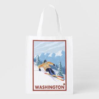 Downhhill Snow Skier - Washington Reusable Grocery Bag