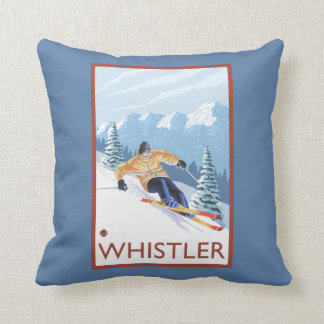 Downhhill Snow Skier - Whistler, BC Canada Cushion