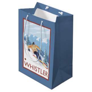 Downhhill Snow Skier - Whistler, BC Canada Medium Gift Bag
