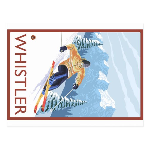 Downhhill Snow Skier - Whistler, BC Canada Post Card