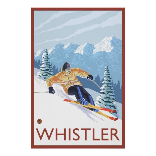 Downhhill Snow Skier - Whistler, BC Canada Print