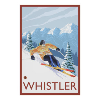Downhhill Snow Skier - Whistler BC Canada Print