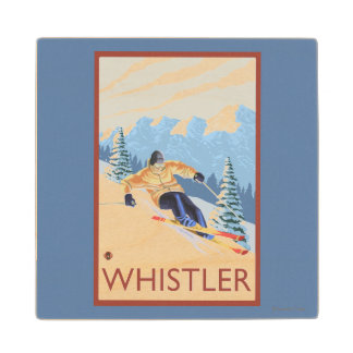 Downhhill Snow Skier - Whistler, BC Canada Wood Coaster