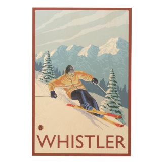Downhhill Snow Skier - Whistler, BC Canada Wood Wall Art
