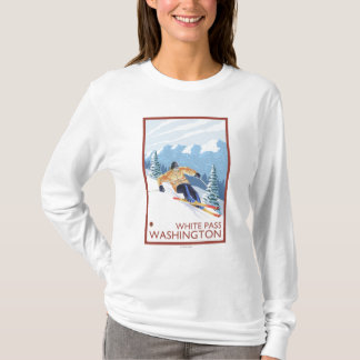 Downhhill Snow Skier - White Pass, Washington T-Shirt