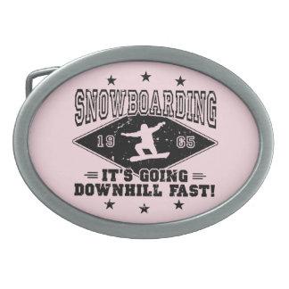 DOWNHILL FAST! (blk) Oval Belt Buckles