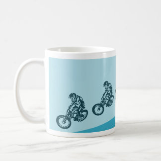 Downhill mountain bike, big air jump basic white mug