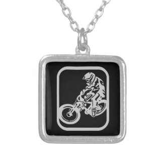 Downhill MTB Silver Plated Necklace