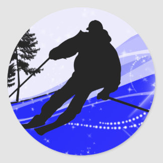 Downhill on the Ski Slope Round Stickers