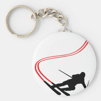 downhill ski skiing red track basic round button key ring