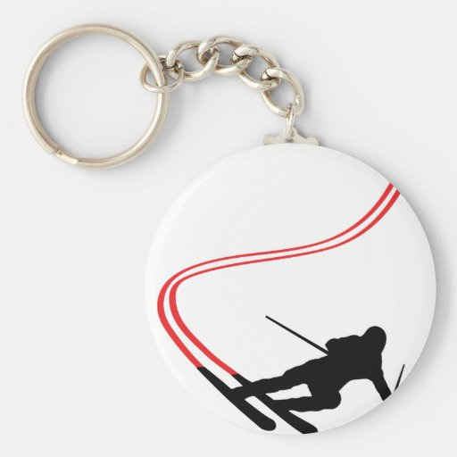 downhill ski skiing red track basic round button key ring