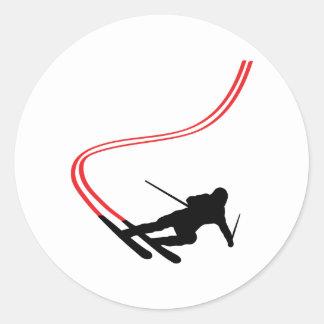 downhill ski skiing red track round sticker