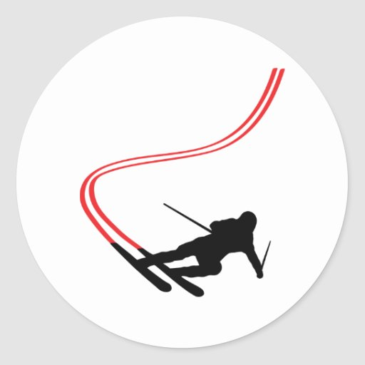 downhill ski skiing red track stickers