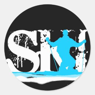 downhill ski round sticker