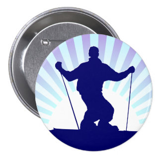downhill skier 7.5 cm round badge