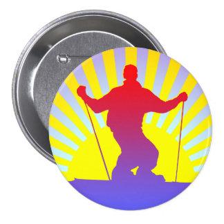 downhill skier 7.5 cm round badge