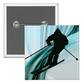 Downhill Skier on Icy Ribbons 15 Cm Square Badge