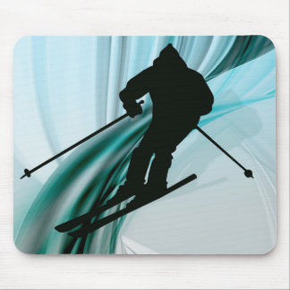 Downhill Skier on Icy Ribbons Mousepad