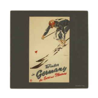Downhill Skier - Sport and Pleasure Promo Wood Coaster