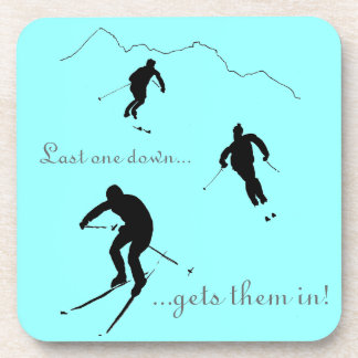 Downhill Skiers drinks mat Coaster