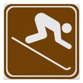 Downhill Skiing Facilities Highway Sign Poster