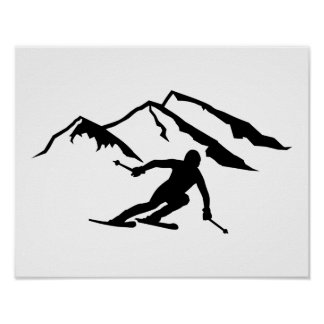 Downhill skiing mountains poster