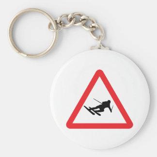 downhill skiing ski warning sign basic round button key ring